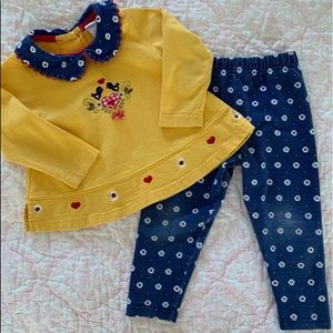 Girls Buster Brown Yellow Daisy Top & Leggings Set